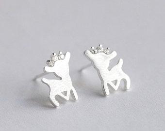 Silver Deer Princess Earrings