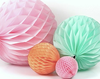 5 inch Honeycomb Ball - Peach, Light Pink, Orange, Gray or Ivory
