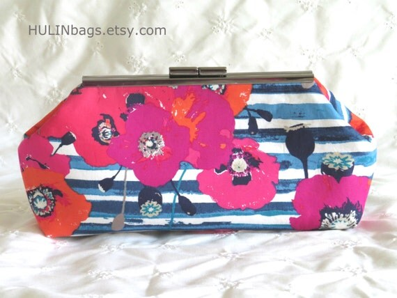 Floral Clutch Clutch Purse White Pink Orange And Blue Purse