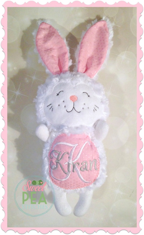 Stuffed animal bunny personalized plush embroidered