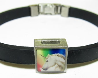 Rainbow Magical Unicorn Link With Choice Of Colored Band Charm Bracelet