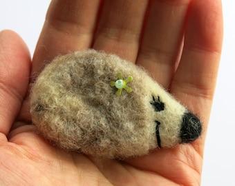 Hedgehog - Needle felted brooch - hedgehog felted brooch - fibre pin - needle felted pin - animal  brooch - clothing accessory - uk seller