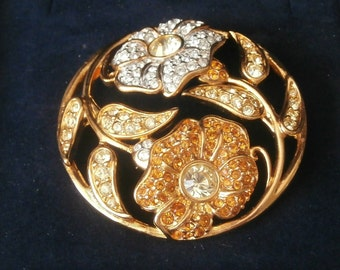 Signed Swarovski Pin Brooch Harmony Gold Plated with Crystals