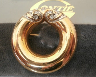 Gontie Paris Signed Gold Plated Wreath Pin Brooch  Set with Crystals  #1362  (D)