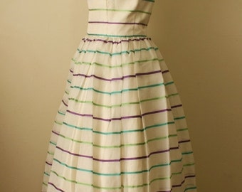 SALE Vintage 1960s Striped Organza Prom Party Dress