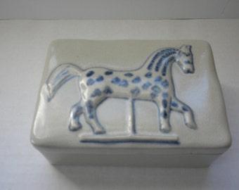 Folk Art Carousel Horse Covered Stoneware Trinket Box