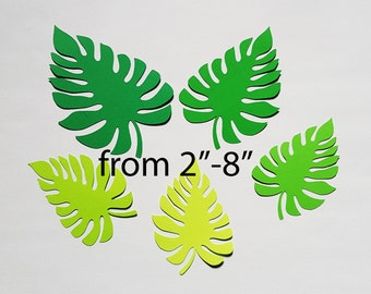 "Palm leaves paper die cuts/ tropical leaf die cuts/ Monstera  leaf die cuts / Tropical die Cut Leaves/ 25 pc set/ sizes 2""-8"""