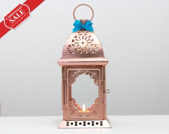 Unique Rose Gold Lanterns-Moroccan Lantern-Metal Candle Holder-Pink Gold Wedding Lanterns-Rose Gold Decor-Bohemian Hanging Lantern