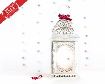 Wedding Lantern Centerpiece Unique Filigree White Silver Metal Candle Holder, Moroccan Home Decor, Gift for Her