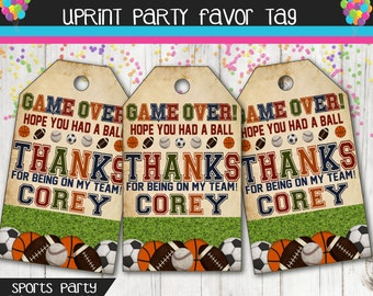 Boys Sports Birthday Party Thank You Tag - Football - Soccer - Basketball - Baseball - Sports Party - Favor Tag - Goodies Tag