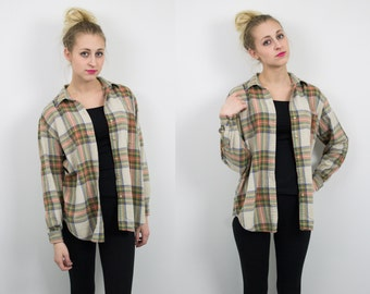 Vintage Neutral Plaid Flannel Shirt 323
