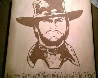 Clint Eastwood Western Wooden Wall Art