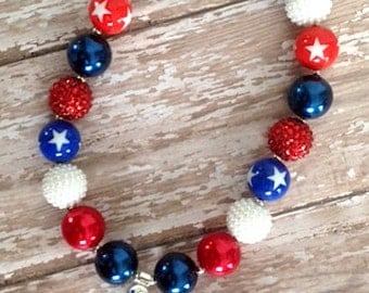 July 4th girls chunky bubblegum necklace