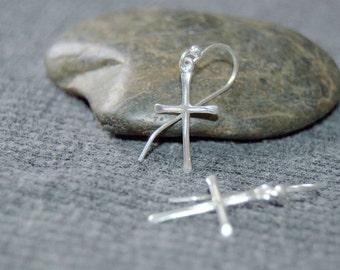 silver cross earrings, sterling silver dangle cross earrings, simple minimalist earrings, religious jewelry, christian jewelry