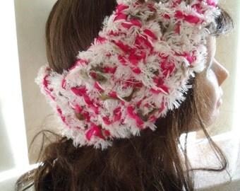 wide balalaika hair band in white, dark pink and Brown (women's size)