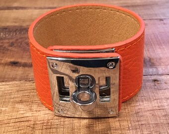 Rustic Orange Leather Buckle Cuff - Silver Hardware