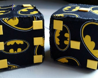 Batman, Superhero, Comic Dice, Car Dice, Fabric Dice, Car Accessory Dice, Handmade, Hand Sewn 3 inches (OneOfAKind)
