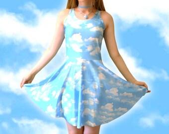 CLOUD DRESS // Cyber Vaporwave Kawaii Pastel Blue