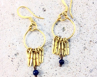 small Creole gold / curly ears inca / loops dangling / gold hammered / lapis lazuli / turquoise