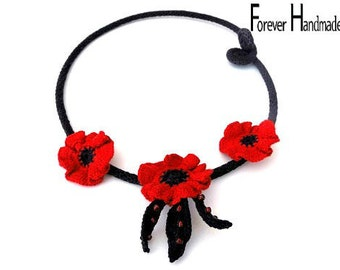Red Poppies Crochet NecklaceCrochet Tube Necklace