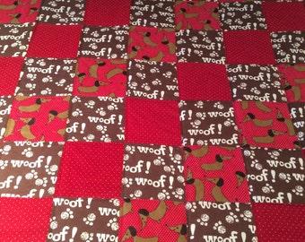 Dachshund flannel quilt, dog blanket, baby quilt, flannel blanket, flannel quilt