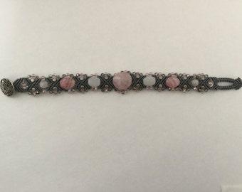 Rose Quartz Micro Macrame Bracelet