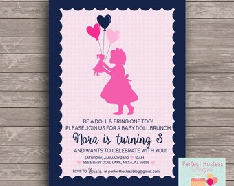 Heart Baby Doll Birthday Party Invite