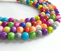 """1 strand,  Assorted Color Mottled Finish, Painted Glass Beads, Round, 8mm, 16"""" strand, 55 beads"""