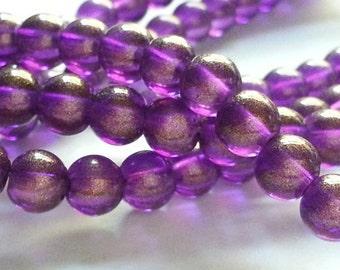 50/100 Purple Golden Shimmer glass beads, 6mm