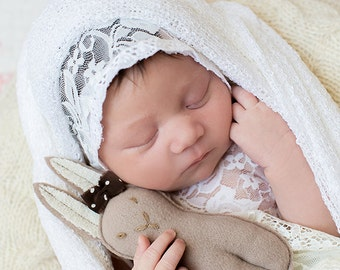 White NEWBORN STRETCH knit swaddle wrap - open weave baby blanket - hammock - photo props - knit scarf - cocoon