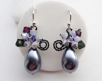 Purple grey earrings - dangle earrings - Drop earrings - women earrings - chic earrings
