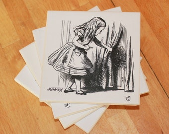 4 Alice in Wonderland Coasters,Lewis Carroll,Alice Coasters,Drinks Coaster,Upcycled Book,Mad Hatter,Ceramic Coaster,Set of 4 Coasters