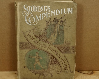 19th Century Antique Book Students Compendium 1896 illustrated old book