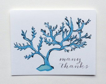 Coastal seaside blue coral thank you -  Note Cards
