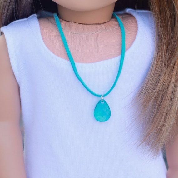 Doll Accessories | Turquoise Teardrop Pear Charm 8 inch NECKLACE for dolls such as American Girl Doll