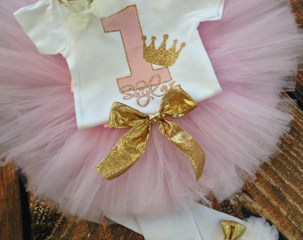 1st birthday outfit pink and gold | Princess First Birthday outfit | Personalized Princess 1st Birthday Outfit