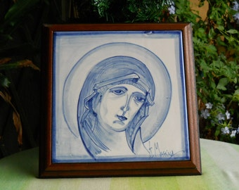 Ceramic tile with wood frame. Painting .  Easter Gift.