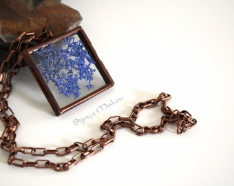 Real Moss Copper Locket Necklace Hinged Glass Locket Nature Jewellery Blue Moss Necklace Feature Square Necklace Copper Chain See-through