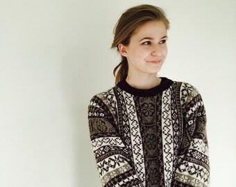 Fair Isle sweater Fair Isle dress Oversized dress Alpaca sweater Women's sweater Vertical pattern sweater Made to order