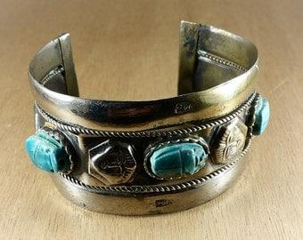 Bracelet - vintage bracelet cuff - bracelet retro from Egypt - scarab egyptian bracelet - vintage brass bracelet - vintage costume jewelry -