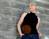 Minimalist Black Sleeveless Mockneck - Silk Knit - Ann Taylor Size Medium