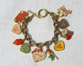 Vtg 70s Perfect Valentine's Day Charm Bracelet