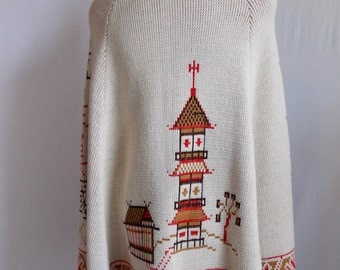 Vintage Sweater Poncho with Asian Theme