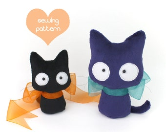 PDF sewing pattern - Scaredy Cat stuffed animal 2 sizes plush - easy beginner Halloween kitten beanie cute plushie