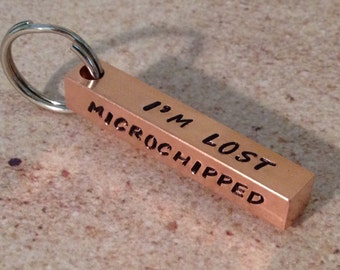 Pet id tag, Custom Dog tag, dog id tag, microchipped tag, dog tag for dogs, copper id tag, bar id tag, four sided id tag, bar pet tag,