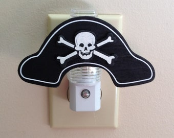 Boys Pirate Hat Night Light Pirate Skull & Crossbones Jolly Roger Pirate Decor Boys Room Lights