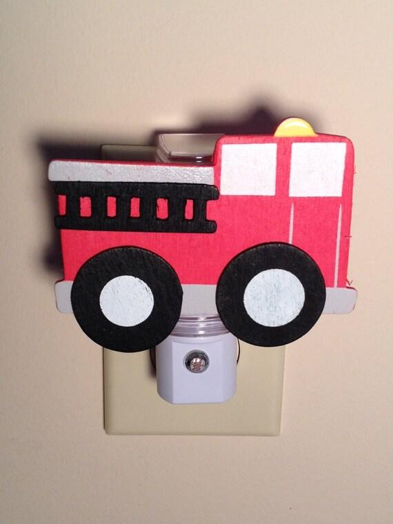 Boy Truck Lamp : Boys fire truck night light fireman room decor kids