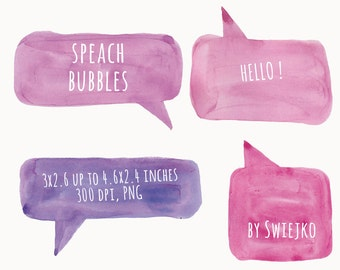 Watercolor Clip Art, Watercolor, Speech Bubble, Speach Clip Art