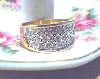 Vintage 70's Gold Pave CZ Ring, Engagement Ring, Anniversary Ring, Band Ring, Cocktail Ring, Ladies Ring, Sparkle, Bold, Fashion Jewelry