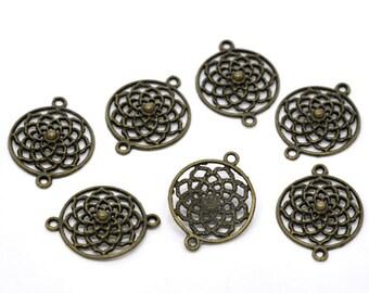 4 Antiqued Bronze Open Flower Connectors